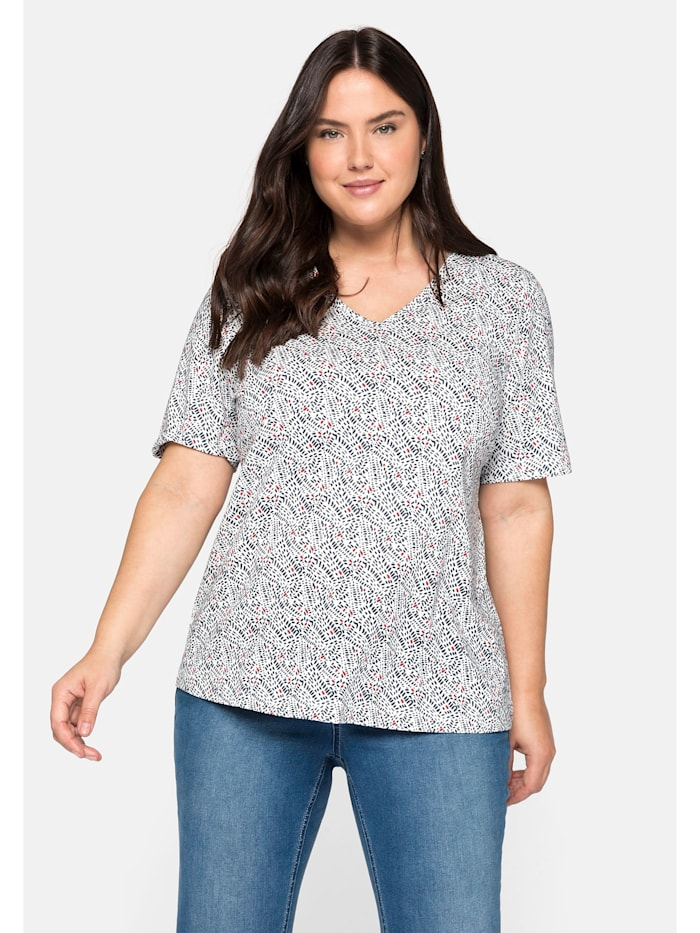 Sheego Sheego T-Shirt bedruckt mit Halbarm, offwhite bedruckt