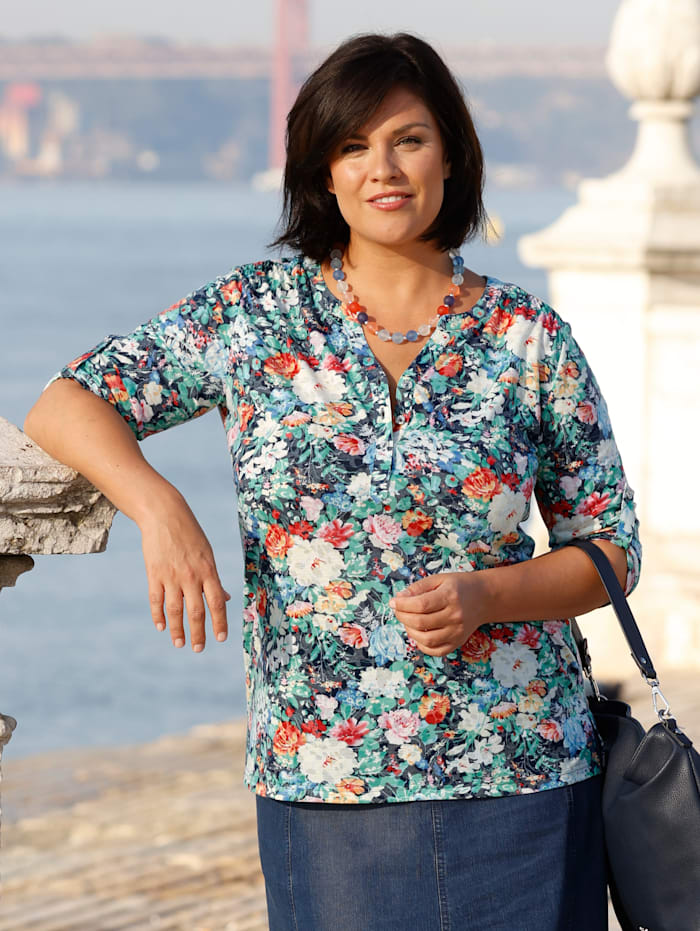 m. collection Shirt met bloemendessin, Multicolor