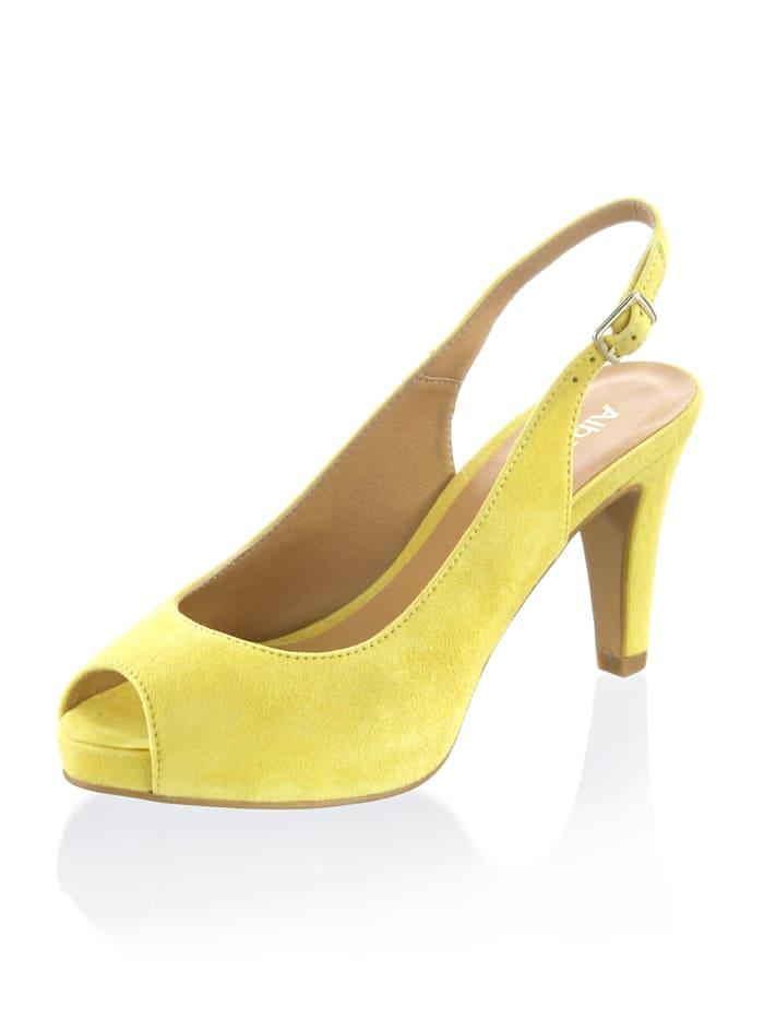 Alba Moda Sandalette aus Ziegenveloursleder, Gelb