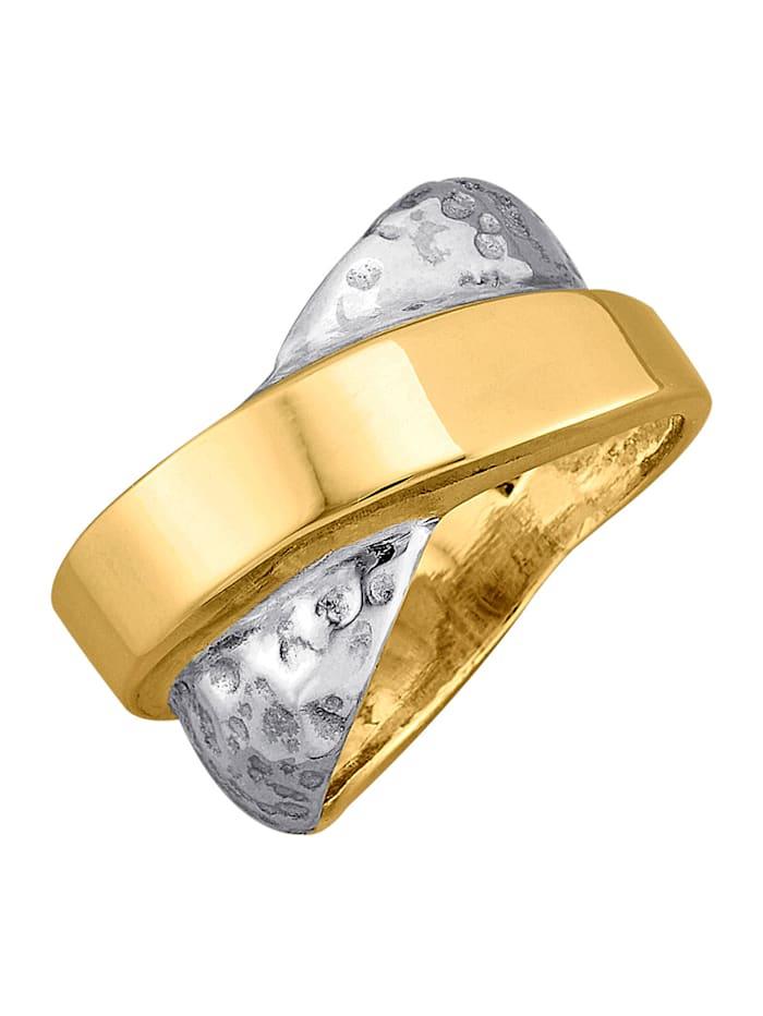 Amara Tendance Bague en argent 925/or 585, Coloris or jaune