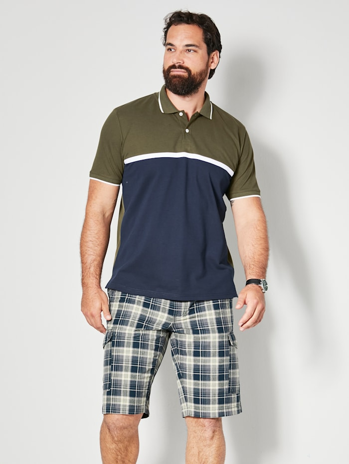 Men Plus Poloshirt color Blocking Design, Marineblau/Oliv