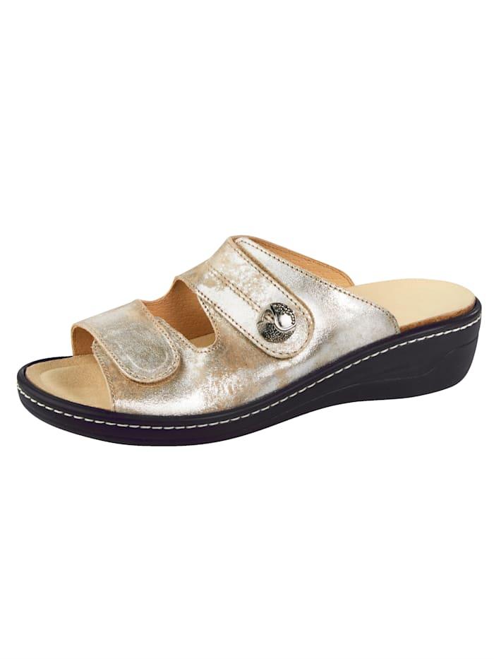Franken Schuhe Pantolette, Goldfarben