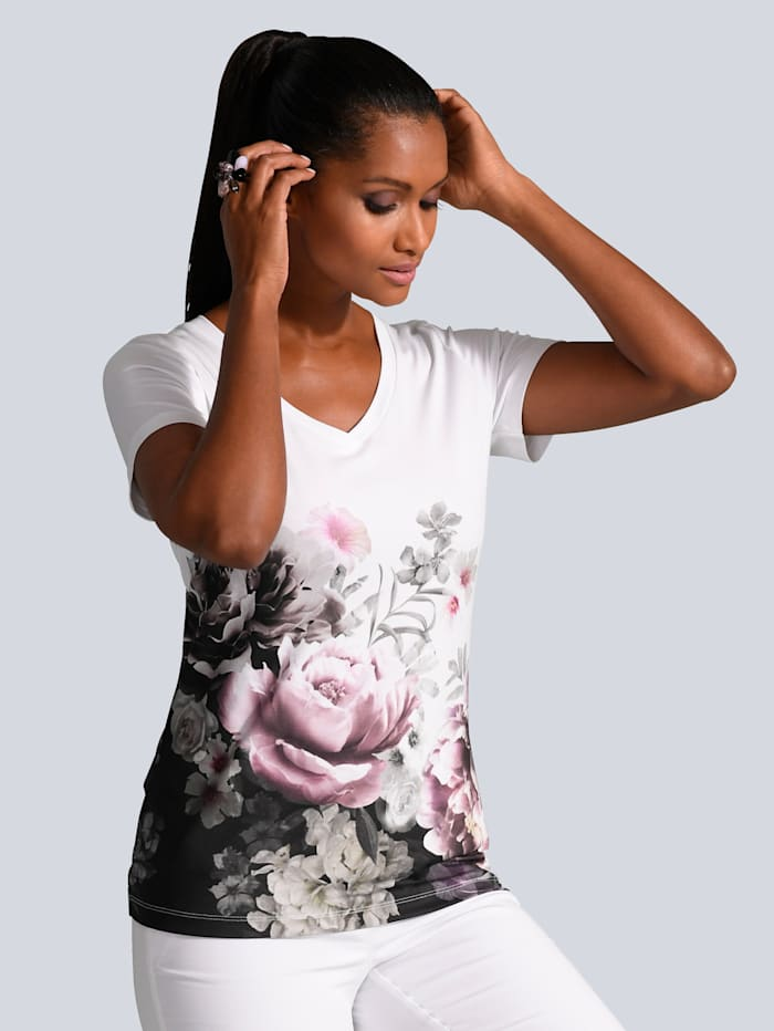 Alba Moda Shirt mit hohem Viskose Anteil, Weiß/Rosé