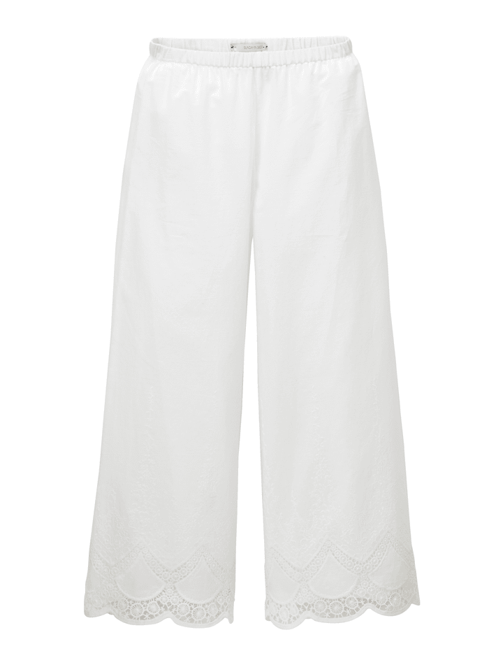 SUNDAY IN BED Homewear-Hose mit eingearbeiteter Spitze am Saum, Weiß