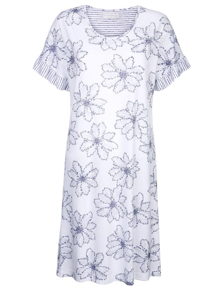 Nachthemd met gestreepte volantmouwen