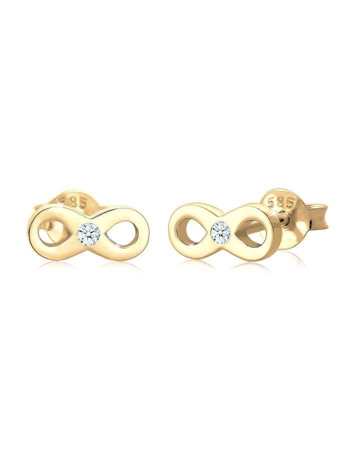 DIAMORE Ohrringe Infinity Liebe Diamant (0.03 Ct) 585 Gelbgold, Gold