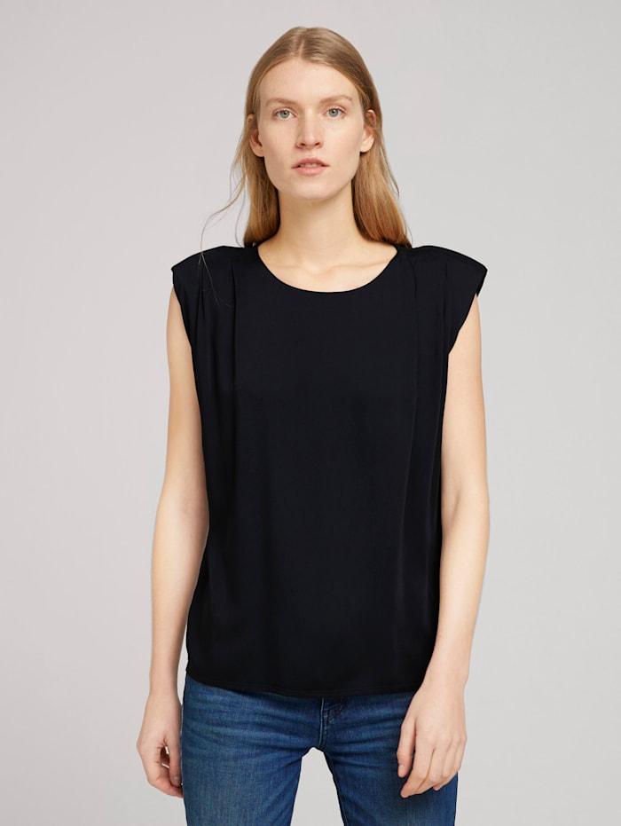 Tom Tailor T-Shirt mit Schulterpolstern, Deep Black