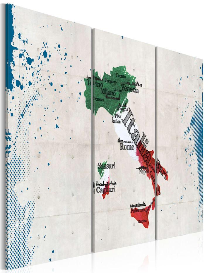 artgeist Wandbild Landkarte von Italien - Triptychon, Grün,Weiß,Blau,Rot