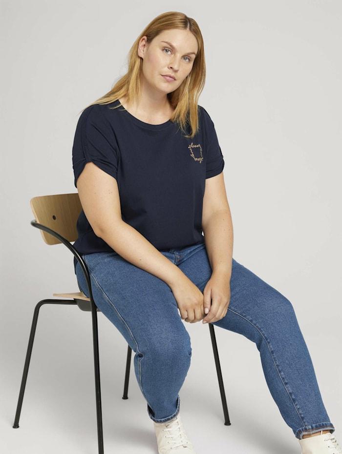 MY TRUE ME by Tom Tailor Plus - Print T-Shirt mit Bio-Baumwolle, Sky Captain Blue