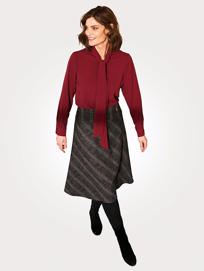 Relaxed by Toni Skirt in a check pattern, Bordeaux/Grey