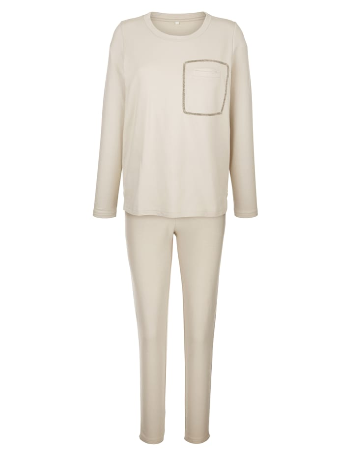 Leisure suit with breast pocket