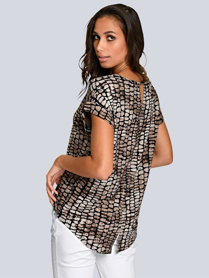 Druckshirt mit abstraktem Animalprint allover