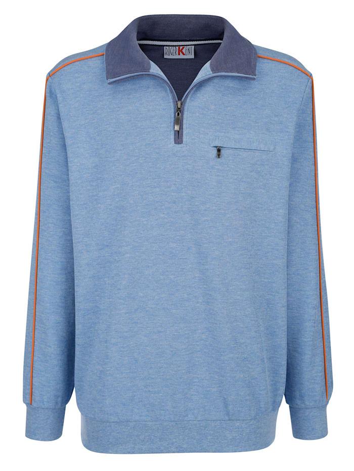 Roger Kent Sweatshirt met paspels in contrastkleur, Lichtblauw