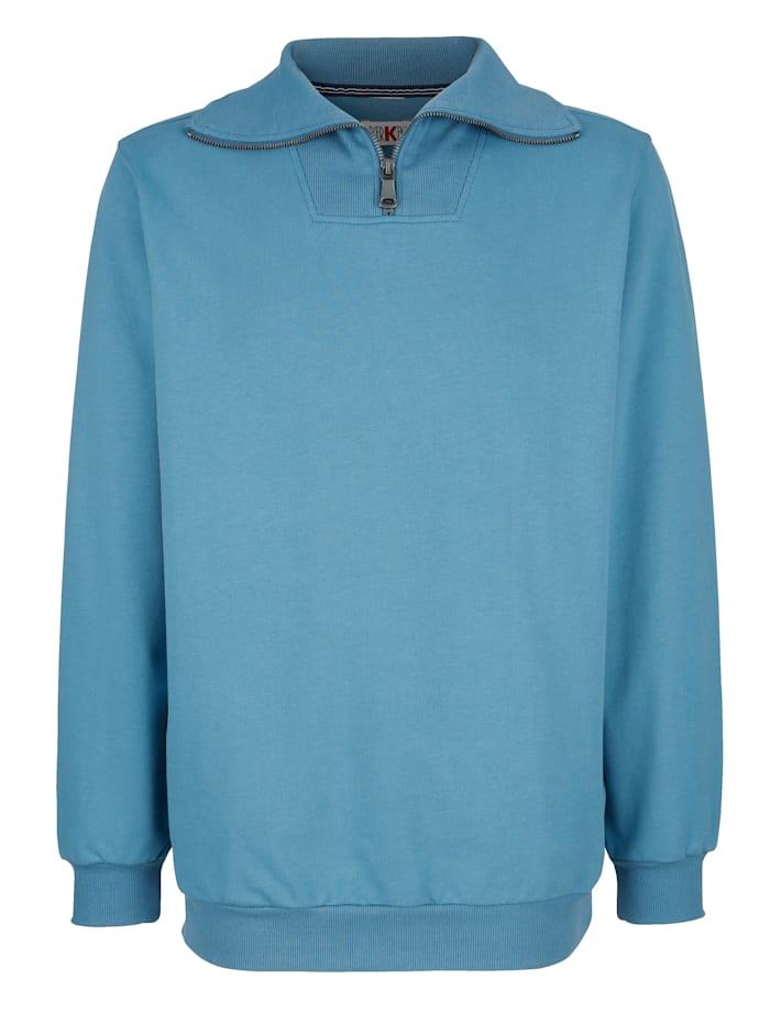 Roger Kent Sweatshirt met geribde kraag, Rookblauw