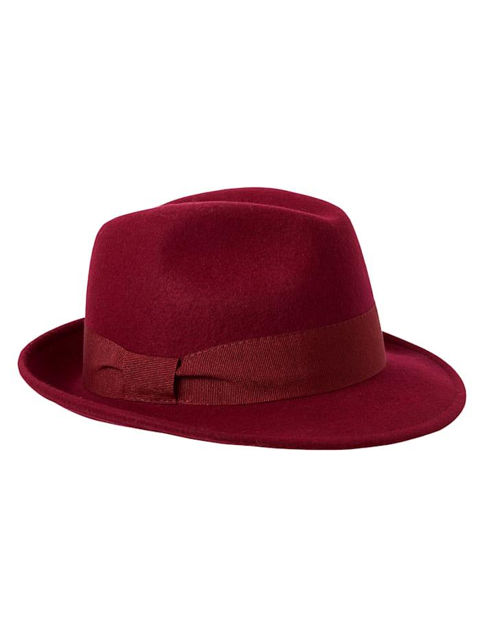 Faustmann Chapeau en feutre de forme élégante, Rouge