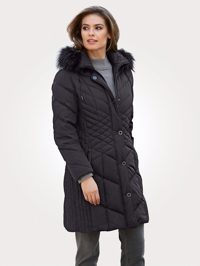 Barbara Lebek Short down coat with mixed quilting, Black