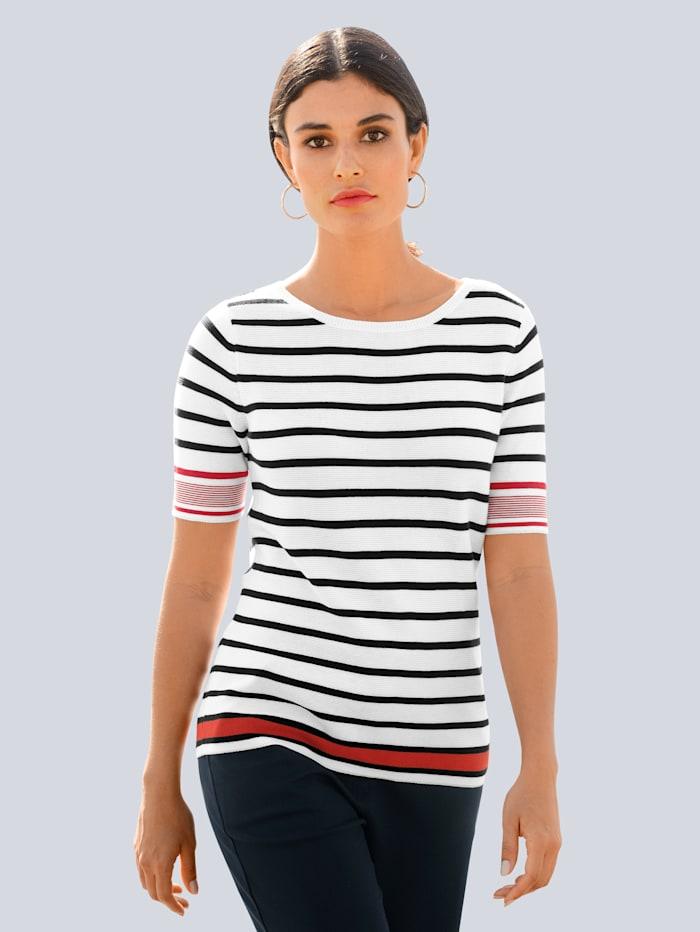 Alba Moda Pull-over motif rayé tendance, Rouge/Marine/Blanc