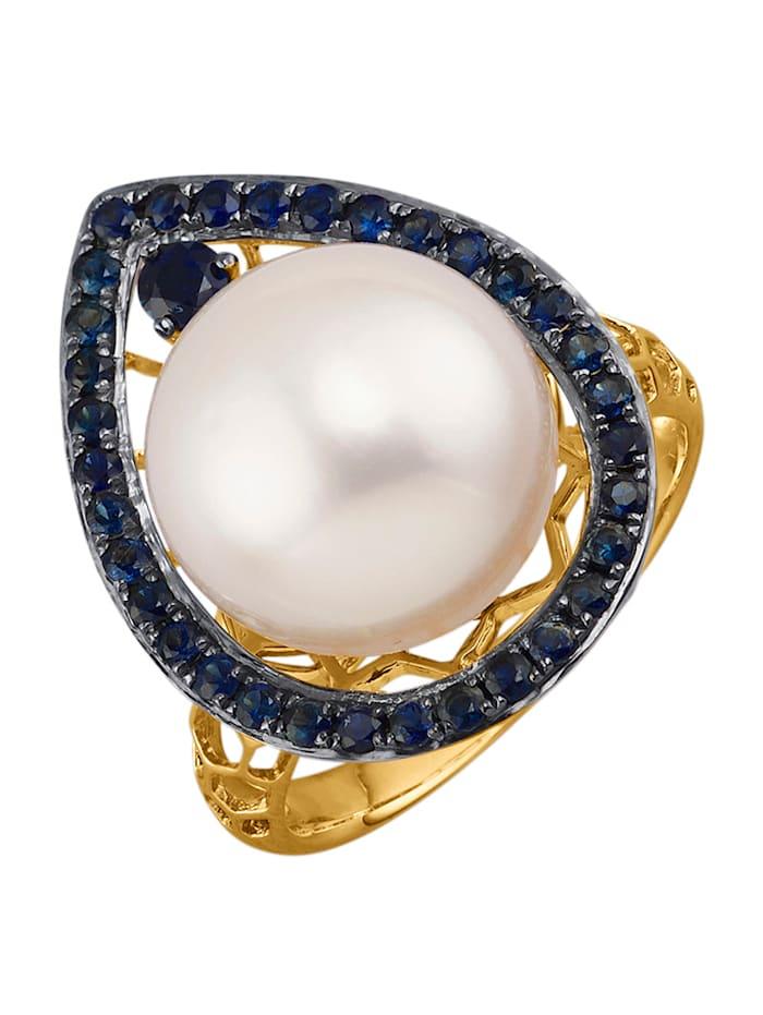 Diemer Perle Damenring mit Südsee-Zuchtperle und Saphiren, Weiß