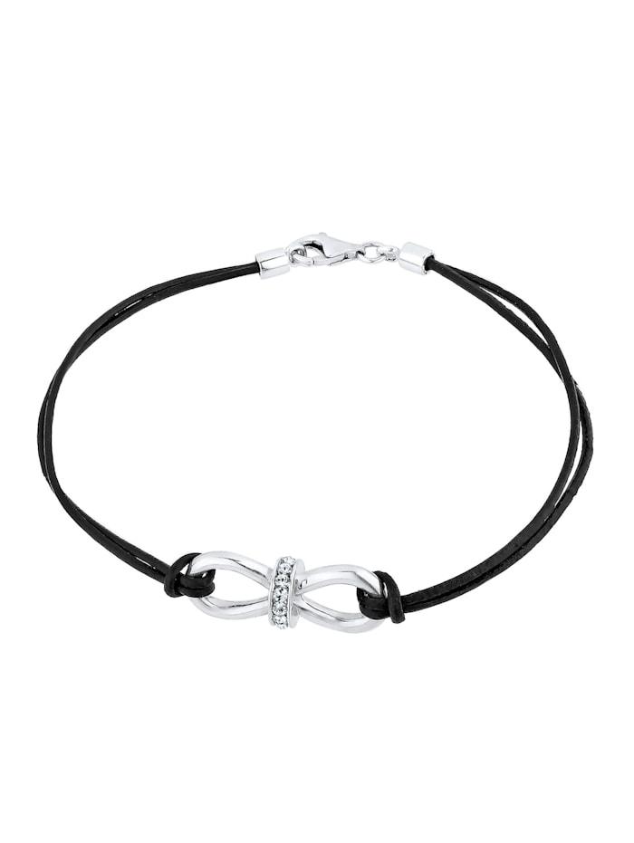 Armband Leder Infinity Kristalle Silber