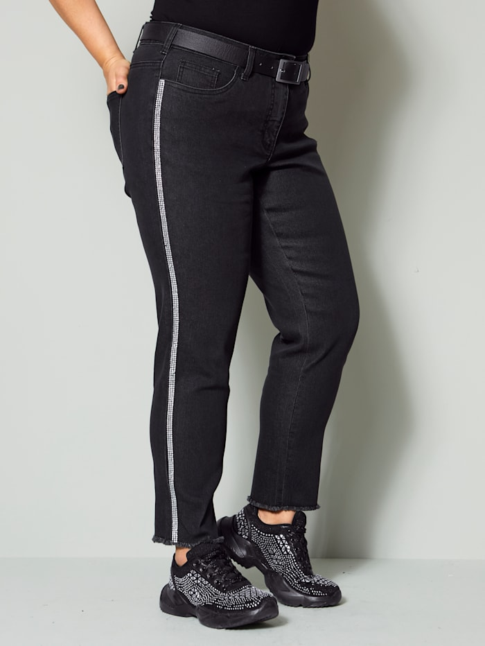 Angel of Style Jeans mit Strassband, Black