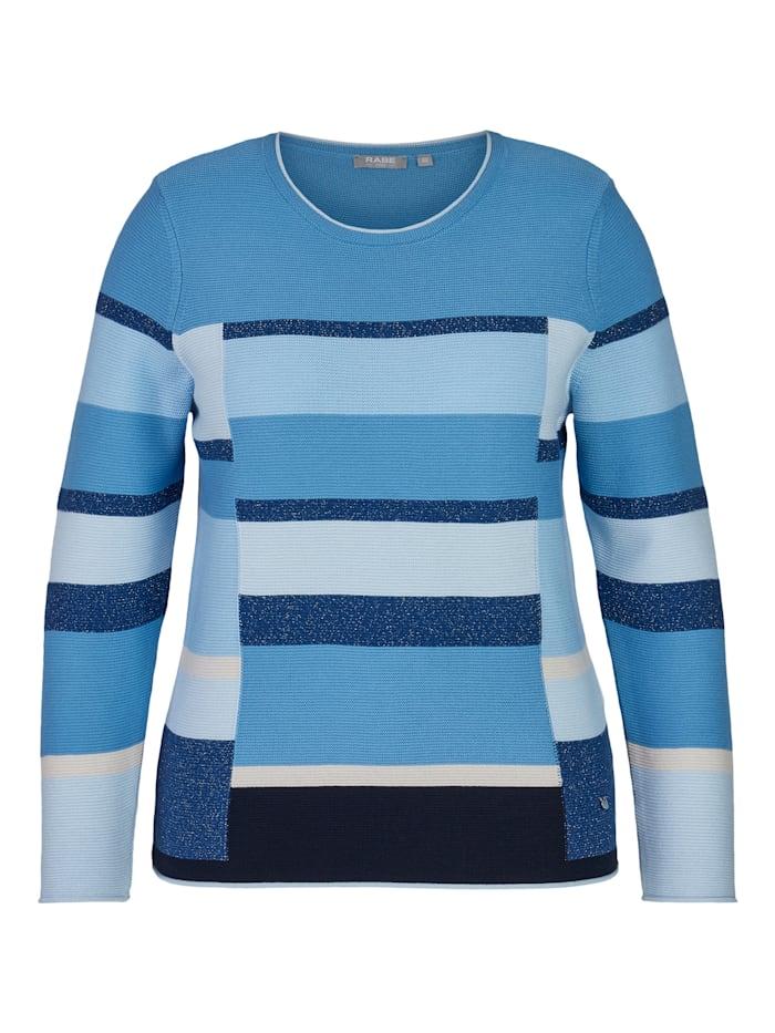 Rabe Pullover mit Blockstreifen und Glitzergarn, Mittelblau