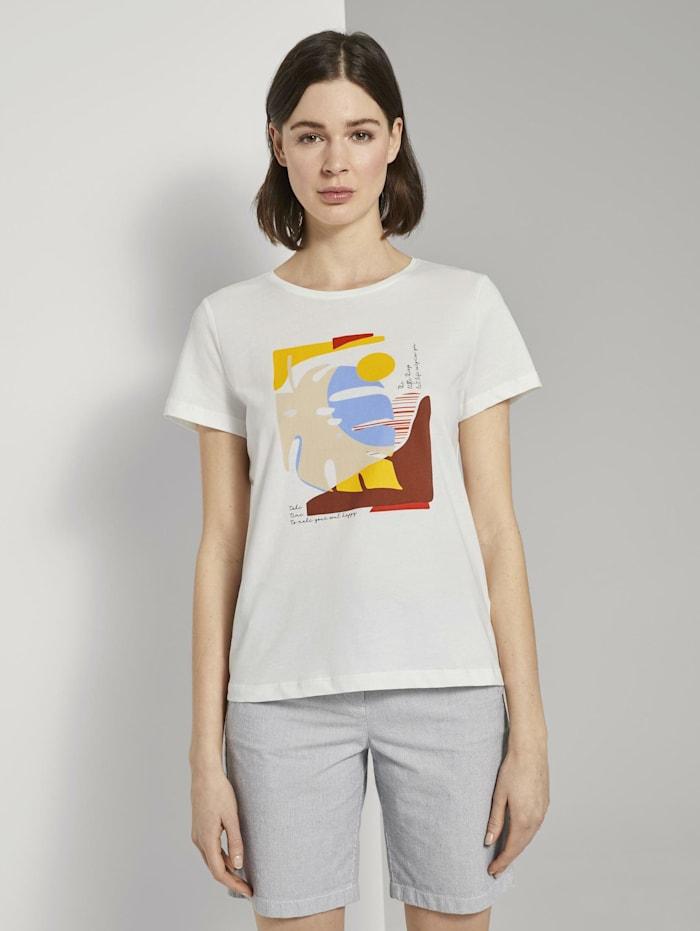 Tom Tailor Motivprint T-Shirt mit Bio-Baumwolle, Dove White