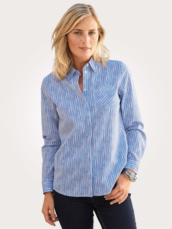 MONA Bluse mit Streifendruck, Weiß/Marineblau/Blau
