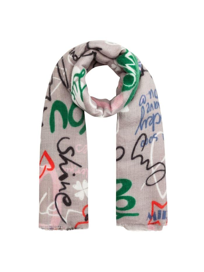 Codello Ultrasofter Oversized-Schal mit coolem Schrift-Print, grey