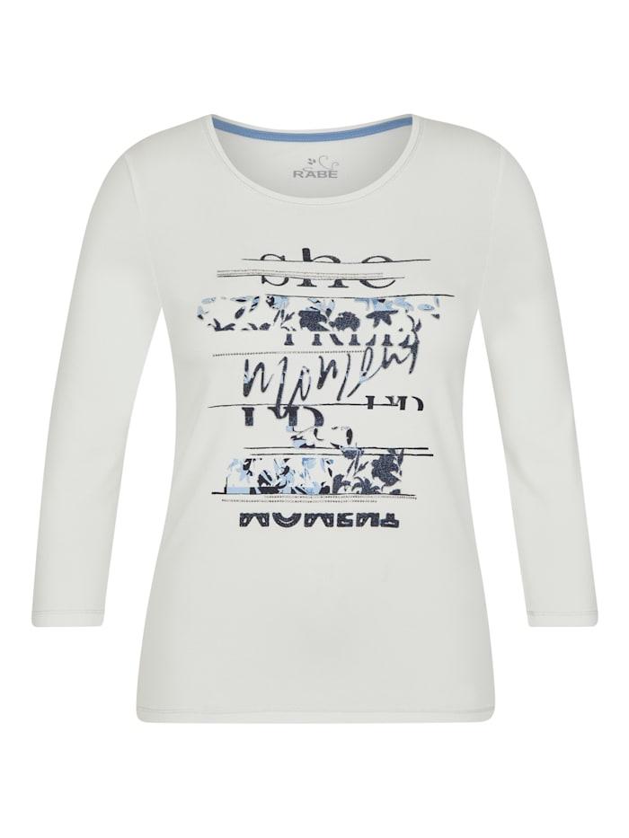 Rabe Shirt mit Glitzersteinen und Front-Print, NATUR