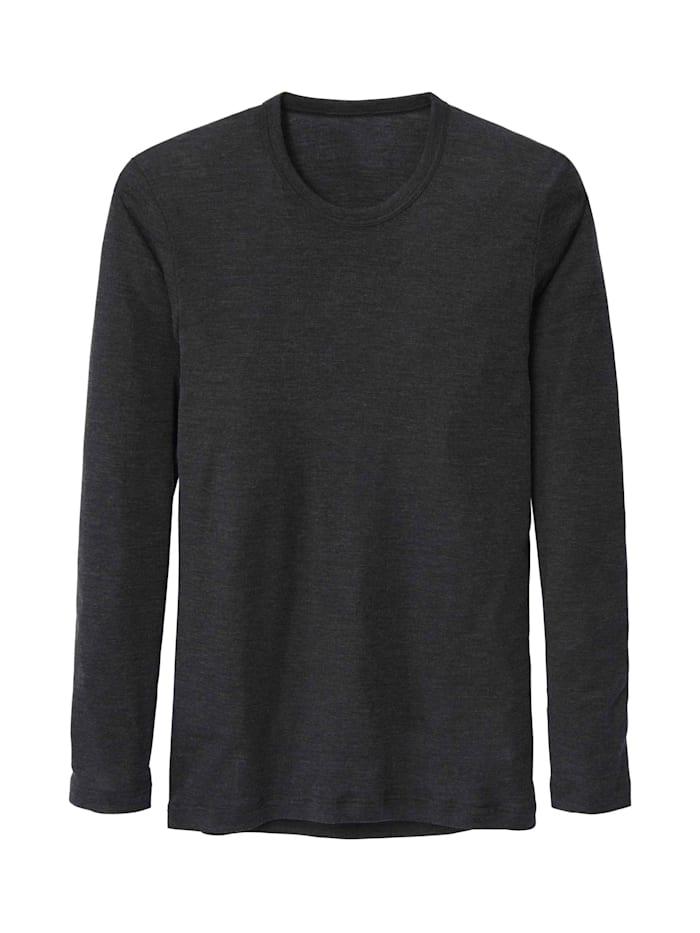 Calida Langarm-Shirt aus Wolle und Seide STANDARD 100 by OEKO-TEX zertifiziert, Dark Moon Melé