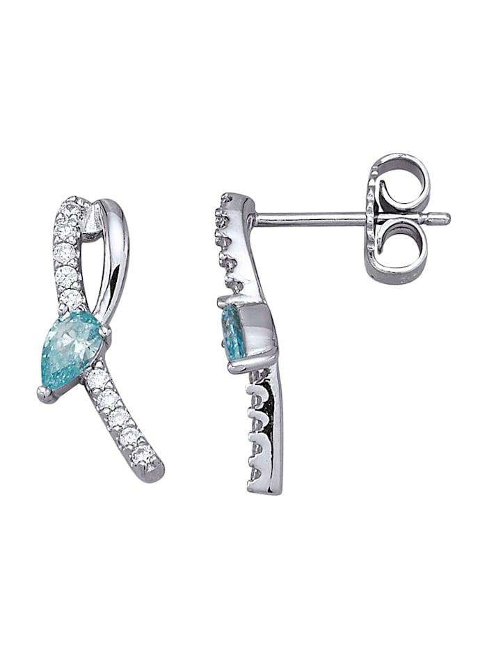 Ohrstecker mit Swarovski-Kristallen, Silberfarben