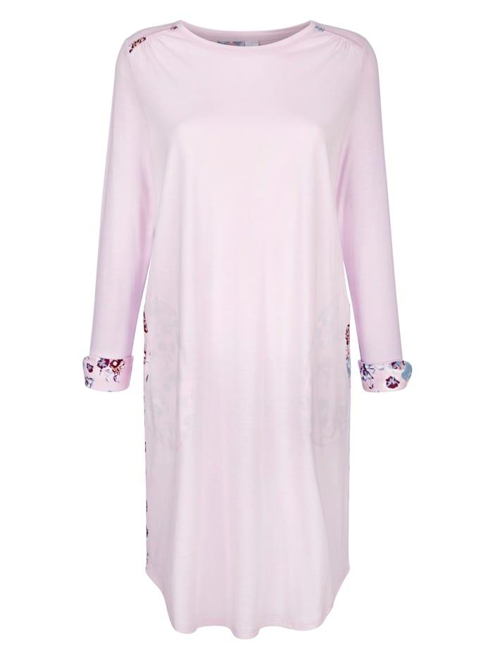 Simone Nachthemd met gebloemde achterkant, Lichtroze/Rookblauw/Bordeaux