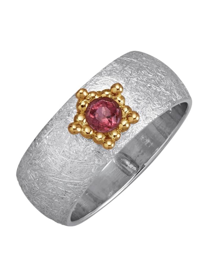Diemer Atelier Damenring mit rosafarbenem Turmalin, Silberfarben