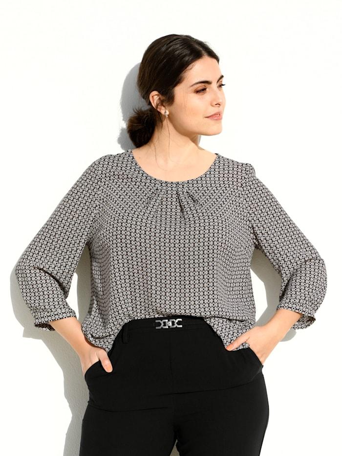m. collection Bluse in schönem Minimaldesign, Weiß/Schwarz/Beige