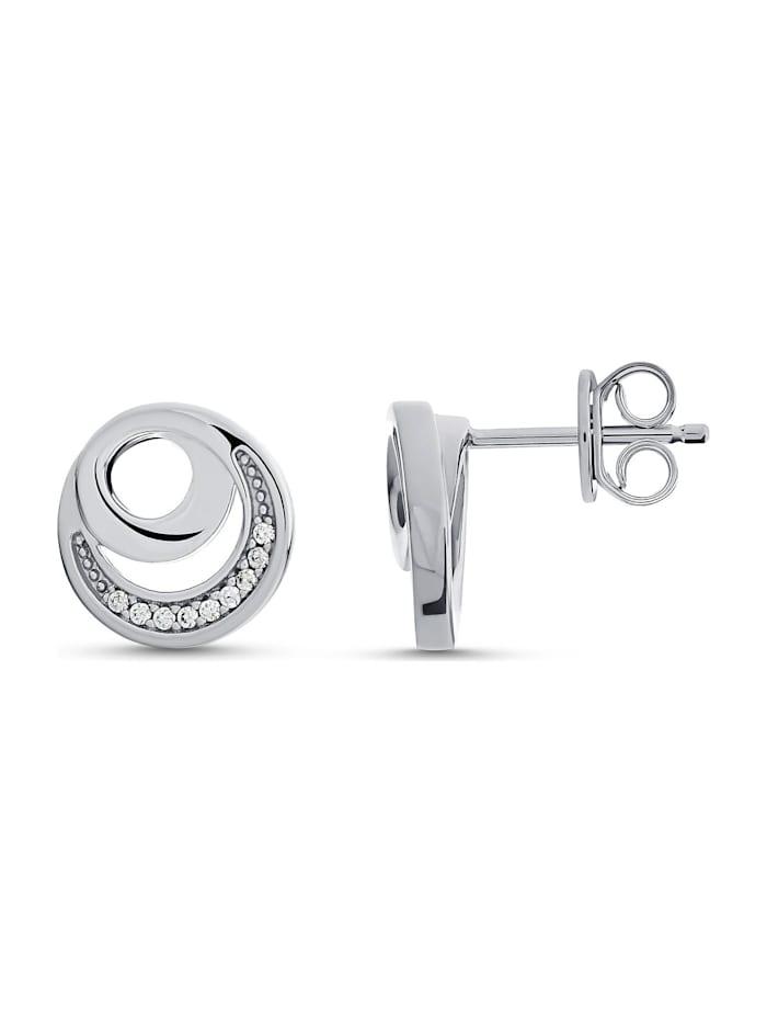 JETTE Silver Damen-Ohrstecker DOT 925er Silber 18 Zirkonia