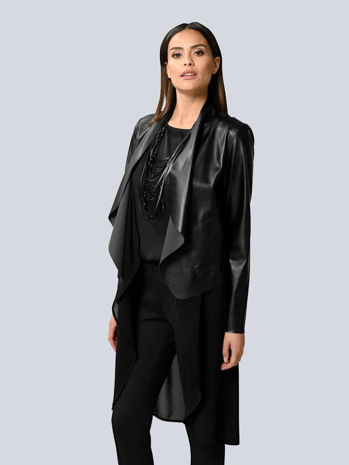 Alba Moda Shirt vorne aus leicht glänzender Webware, Schwarz