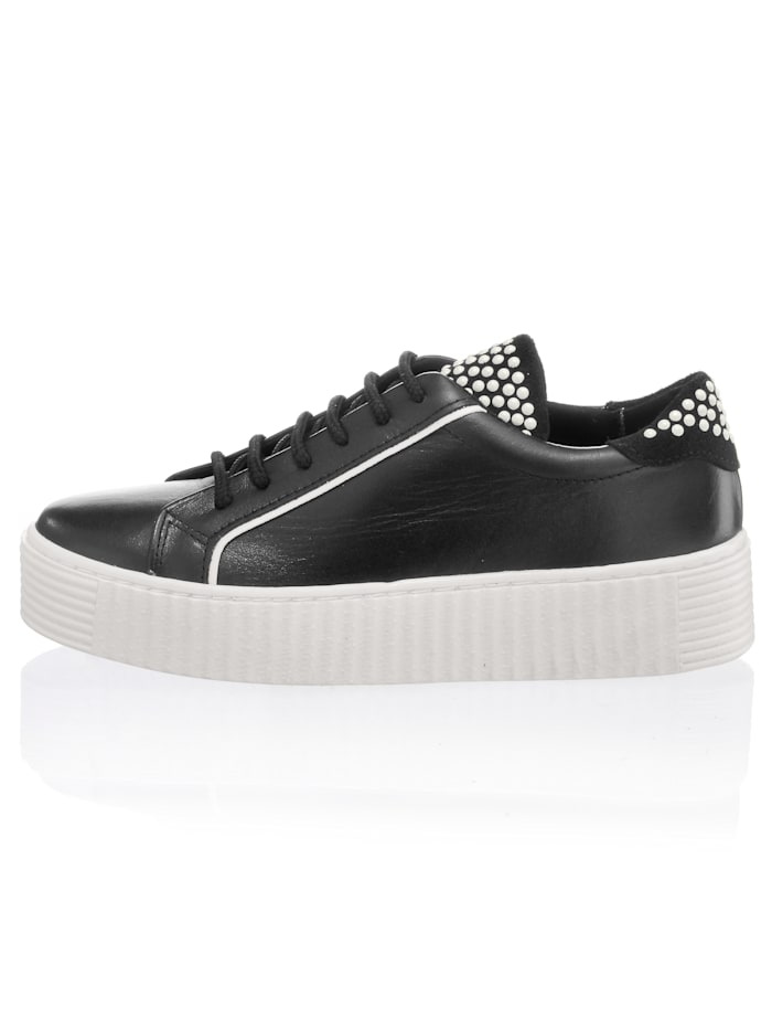 Alba Moda Sneaker mit geriffelter Plateausohle, Schwarz