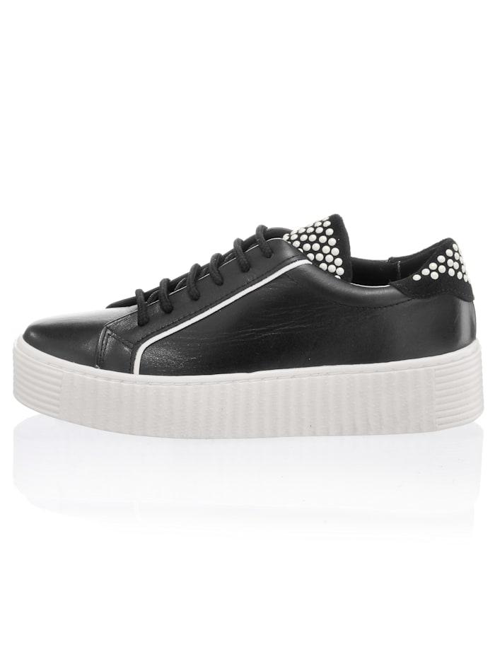 Alba Moda Sneaker obuv so zúbkovanou platformovou podrážkou, Čierna