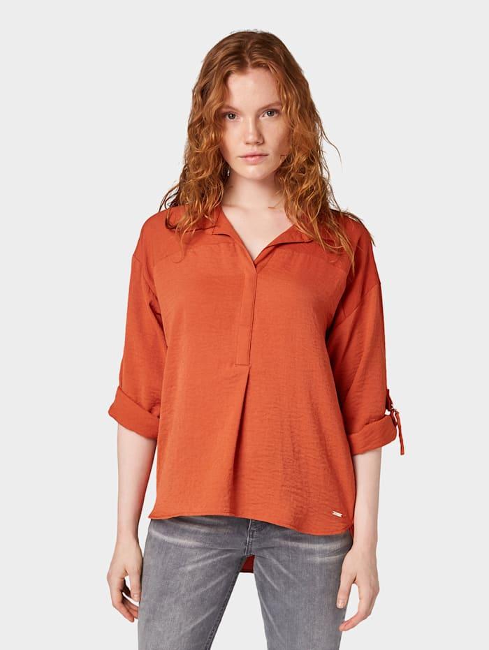 Tom Tailor Denim Oversized Bluse mit Turn-Up-Details, fox orange