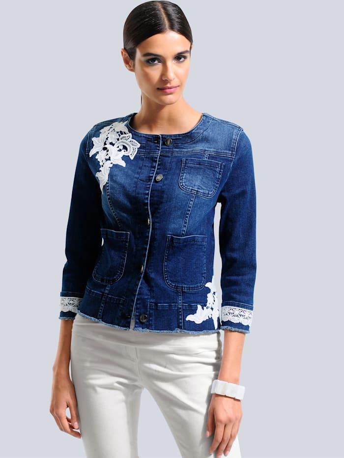 Alba Moda Spijkerjasje met contrastkleurig kant, Blue stone