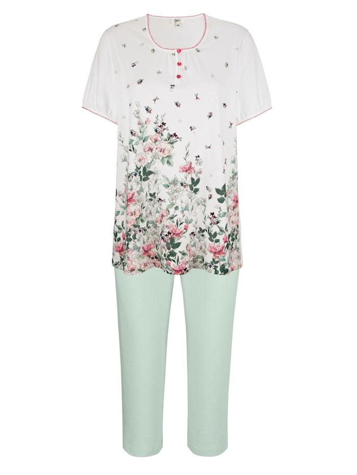 MONA Schlafanzug aus dem Cotton made in Africa Programm, Weiß/Lindgrün/Rosé