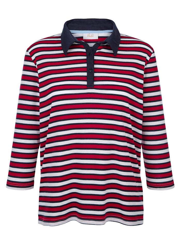 Paola Shirt mit Streifenmuster rundum, Rot/Marineblau/Weiß