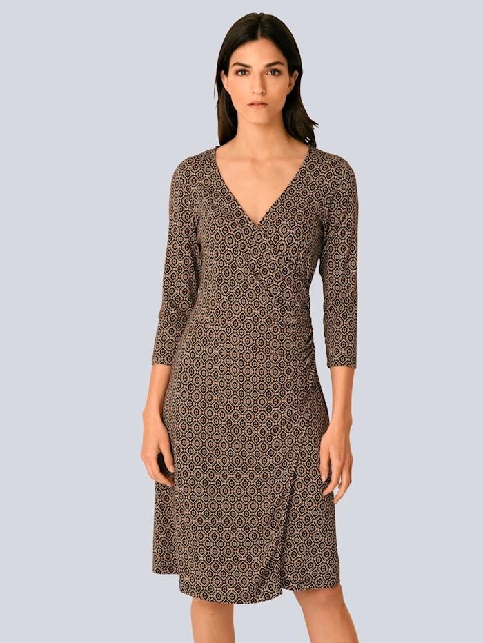 Alba Moda Kleid mit femininer Raffung in der Taille, Beige/Cognac