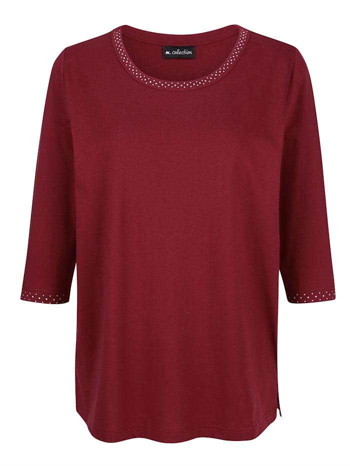 m. collection Shirt mit Strasssteinen, Bordeaux