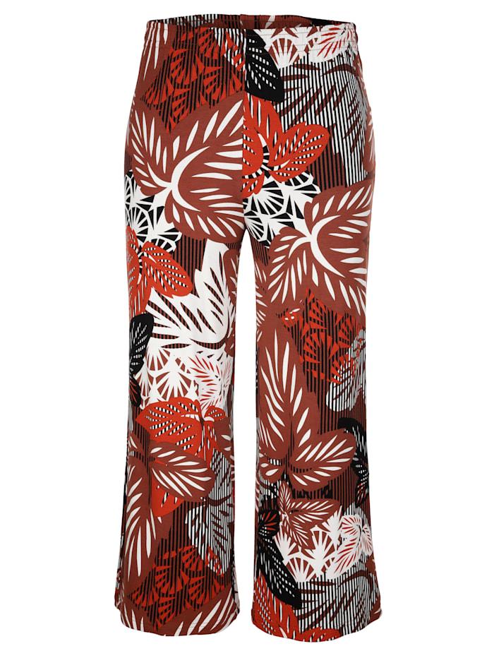 MIAMODA Kukkakuosiset culottes-housut, Ruskea