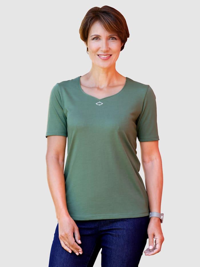 Paola Shirt mit Steinchenverzierung, Grün