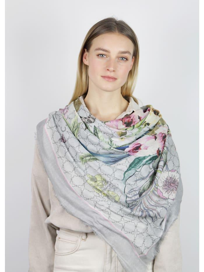 Premium Logo-Tuch mit Flower-Print aus Modal und Seide