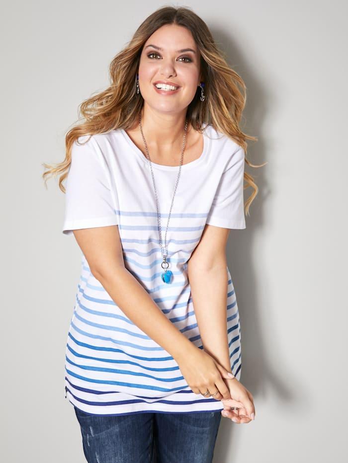 Janet & Joyce Shirt aus reiner Baumwolle, Weiß/Blau