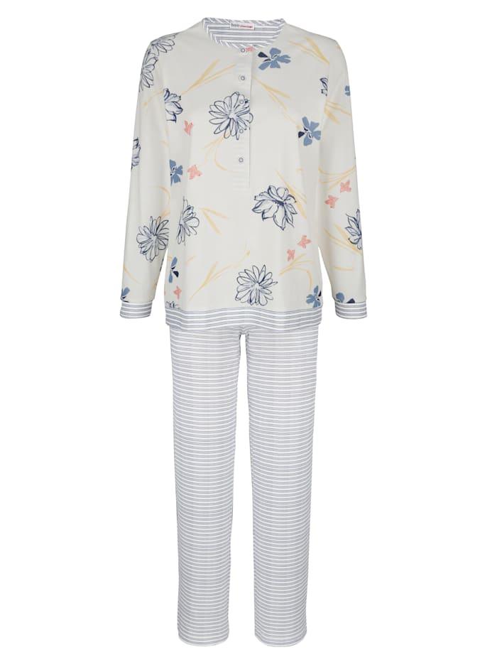 MONA Pyžama s kvetinovou potlačou, Ecru/Modrá/Lososová