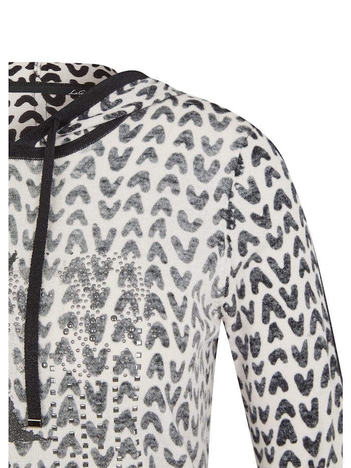 Pullover mit Glitzersteinen und Kapuze